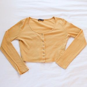Thermal yellow Button down crop top